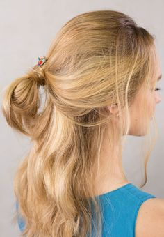 Bold Stoneset Bobby Pins with bright arrangement of blue, red, and turquoise. Cute half up messy bun pony style.