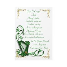 Shop Irish Wedding invitation Harp shamrocks and ribbon created by Irisangel. Formal Wedding Invitations, Best Wedding Favors, Wedding Ideas, Wedding Stuff, Irish Wedding Traditions, Emerald Green Weddings, Marriage Vows, Wedding Cake Rustic, Celtic Wedding
