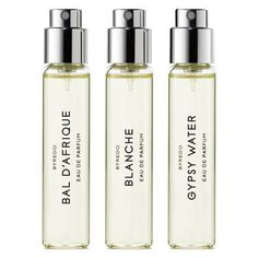 BYREDO Experience three of Byredo's most iconic scents with this trio of trial-sized fragrance vials. Includes Bal d'Afrique, Blanche and Gypsy Water eau de parfums. Frederic Malle, Mojave Ghost, Gypsy, Parfum Rose, Miniature Parfum, Francis Kurkdjian, Best Perfume, Sprays, Travel Size Products