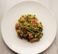 Oven risotto met doperwten en chorizo