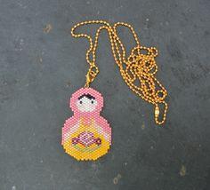 Collier sautoir Matriochka perles Miyuki : Collier par perlette-et-plumette