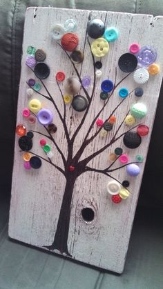 Barnside Button tree artwork ready to hang by dreamingdogdesigns, $35.00