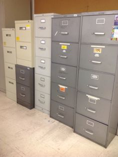 METAL CABINETS, ASSORTED SIZES, ASSORTED BRANDS, GRAY, WHITE, GREEN, STEELCASE, HON, HOLGA