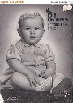 ON SALE Paton's & Baldwins  Knitting Pattern No 250 For Children Babies  (Vintage 1940s) Original Pattern