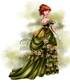 Vintage Ballgown - Anna by tiffanymarsou on DeviantArt Disney Princess Fashion, Disney Princess Art, Disney Fan Art, Disney Style, Disney Love, Disney Frozen, Disney Pixar, Walt Disney, Disney Characters