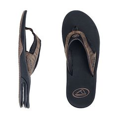 11a4bb4c9919 Men s Reef Leather Fanning Flip Flops Brown Plaid Sandals 2416 Size 8 for  sale online