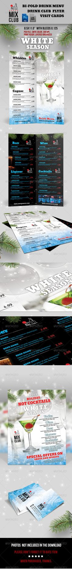 Mix Club - White Season - Food Menus Print Templates