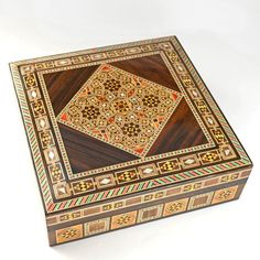 Mosaic Decorative Box, handcrafted wooden box with mosaic wood inlay – Dogwood Hill Gifts