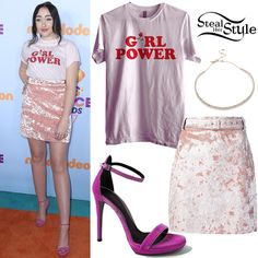 Noah Cyrus arrived at the Nickelodeon Kids Choice Awards at USC Galen Center wearign Glorious PJs Girl Power Tee (Price upon request), the MSGM Crushed Velvet Skirt ($227.00), an Alexis Bittar Spike Accented Choker ($225.00) and Loriblu High Heel Sandals ($437.00 – wrong color).