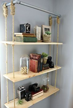 DIY-Regale und Bastelideen selber machen - DIY Holzregale - Easy Step by - Houses interior designs Wood Closet Shelves, Diy Wood Shelves, Diy Hanging Shelves, Floating Shelves, Shelving Ideas, Closet Wall, Bathroom Closet, Wall Shelves, Storage Ideas