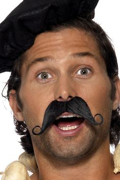 Frenchman Moustache Black Waiter French Stag Do Mens Fancy Dress Accessory New Moustache, French Themed Parties, Party World, French Man, Fancy Dress Accessories, Halloween Costume Accessories, Disney Sweatshirts, Movember, Christmas Costumes