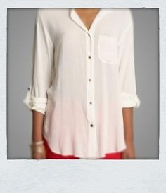 Staple Me  White Loose Fitted Silk or Chiffon Blouse Staple Item in every girl's closet
