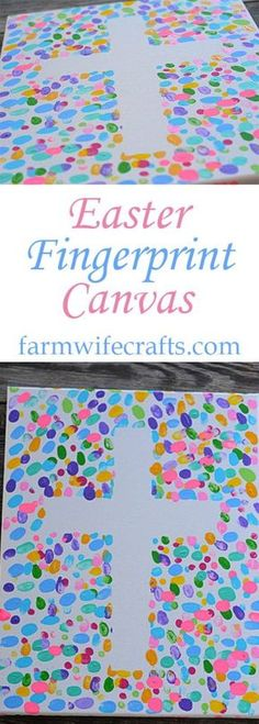 Are you looking for an easy Easter craft to make with your kids that you can enjoy for years? This Easter Fingerprint Canvas might be the perfect craft! craft canvas Easter Fingerprint Canvas - The Farmwife Crafts Easter Crafts To Make, Easter Crafts For Toddlers, Toddler Crafts, Preschool Crafts, Easy Crafts, Bible Crafts For Kids, Preschool Church Crafts, Easter Ideas For Kids, Crafts Cheap