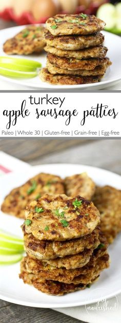 Turkey Apple Sausage Patties | Add a little extra protein to your breakfast with these Turkey Apple Sausage Patties. A perfect recipe for those with egg allergies or sensitivities | http://simplynourishedrecipes.com/turkey-apple-sausage-patties/