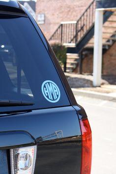 3 Custom Vinyl Circle Monogram Sticker by MissHeatherAnne on Etsy Monogram Stickers, Car Stickers, Southern Charm, Southern Belle, Southern Prep, Silhouette Projects, Silhouette Cameo, Circle Monogram, Car Monogram