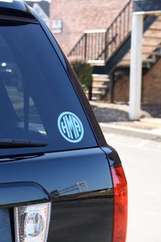 *FOR WHEN I GET MY OWN CAR* Custom Vinyl Circle Monogram Sticker - $13 *color in order of preference*  - light blue - lavender