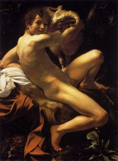 Caravaggio . john the baptist youth with ram