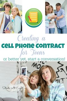 Creating a Cell Phone Contract for Teens...or better yet, start a conversation! from Starts At Eight Using a cell phone contact to help guide teens is a good way to start, but you need to build a relationship with your teens through conversations that include their thoughts and ideas into the process.