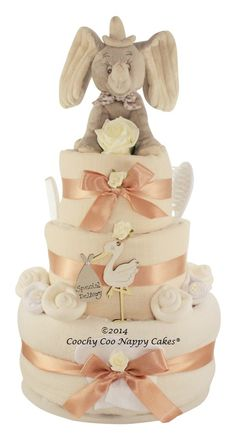 Three tier unisex new baby shower nappy cake gift with Dumbo elephant baby keepsake capsule and baby stork with special delivery www.CoochyCooNappyCakes.co.uk