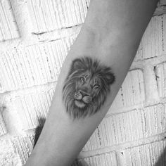 Lion Tattoo 48487 No photo description available. Trendy Tattoos, Black Tattoos, Small Tattoos, Tattoos For Women, Tattoos For Guys, Small Lion Tattoo For Women, Lion And Lioness Tattoo, Lion Head Tattoos, Arrow Tattoo