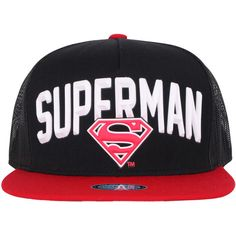 ililily SUPERMAN Rubber Logo Mesh Back New Era Style Snapback Hat... (23 AUD) ❤ liked on Polyvore