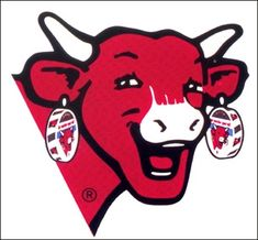 La vache qui rit, qui contient dans sa boucle d'oreille, la répétition de sa propre image, à l'infini.
