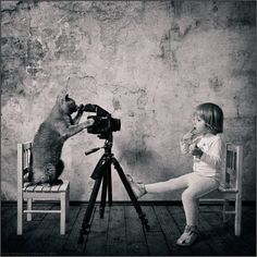 "Andy Prokh, ""Little Girl and the Cat.""  Theres a whole series of these, I just love them"
