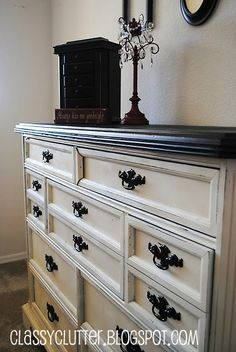 Love this idea for my bedroom dresser. I have been wanting to paint it all black but I love this idea of a creamy white with black top and vintage handles, which I have and need something like this to highlight them.#Repin By:Pinterest++ for iPad#