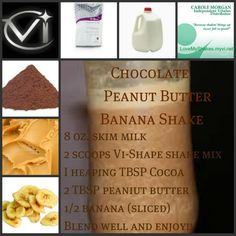 Chocolate Peanut Butter Banana Vi-Shake! Get your Vi-shape shake mix at www.RayvenMichelle.com/YUMMY