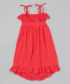 Look at this #zulilyfind! Coral Spaghetti Strap Maxi Dress - Toddler & Kids by Unik #zulilyfinds