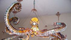 Tentacular stained-glass octopus chandelier