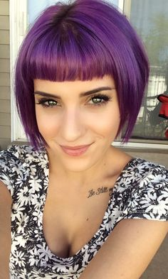 Purple hair. This needs to happen! I don't think I can pull off those bangs, but the color and length are perfection...