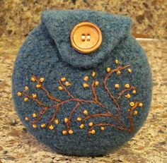 Ravelry: Agilejacks Slate Green Felted Wool Coin Purse  embellished with branches and tiny knots