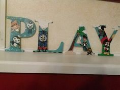 Octonauts, thomas the train, jake neverland pirates, mickey mouse clubhouse play Wood letters hand drawn and hand painted www.facebook.com/andbabymakesthreee
