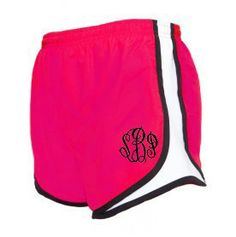 Monogrammed Fuchsia/White Running Shorts. Just not the pink.