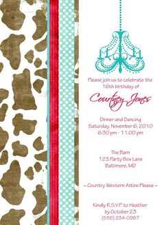 Western Chic Birthday Party Invite by PARTYBOXDESIGN on Etsy, $19.99  No chandelier