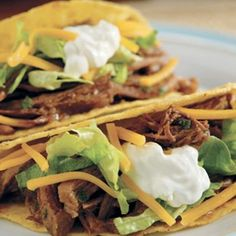 Slow Cooked Taco Shredded Beef #beef #recipes