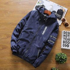 7165051e28f7d 2018 New Fashion Spring Slim Jackets Coat Men Long Sleeve Hooded Jacket Men  Zipper Letters Printed Thin Bomber Baseball Jacket