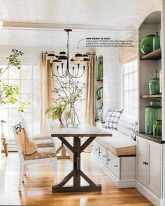 Country Living dining room, farm table, window seat, future house inspiration