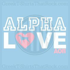 VS Victoria Secret P!nk Pink style Alpha Love shirt with dog in heart. Customize your letters. AOPi Bid Day, Recruitment, and Rush Shirts. Call us Today! 800-644-3066