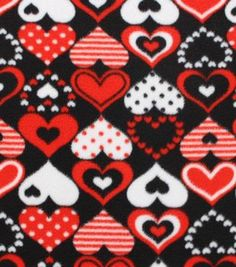 Anti-Pill Fleece Fabric Red Pattern Hearts