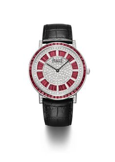Piaget Altiplano watch in 18K white gold and platinum set with 84 baguette-cut rubies (approx. 6.70 cts) and 493 brilliant-cut diamonds. Manufacture Piaget 1200P automatic movement. Black alligator leather strap. #ExtremelyPiaget