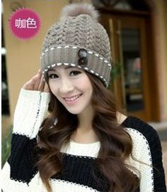 20134 new knitted hat ear for women winter outdoor hats fashion warm wool cap for ladies,MZ0245-in Skullies & Beanies from Apparel & Accesso...