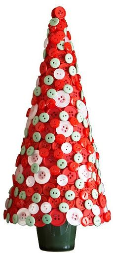 Another easy project for those crafty fingers. Glued red and white buttons make such a pretty Christmas tree.