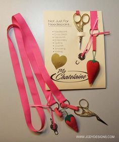 Chatelaine - Pink Ribbon - Jody Designs via Etsy Hand Work Embroidery, Embroidery Scissors, Stitch 2, Cross Stitch, Retreat Gifts, Sewing Kits, Gold Ribbons, Classic Gold, Vintage Ideas