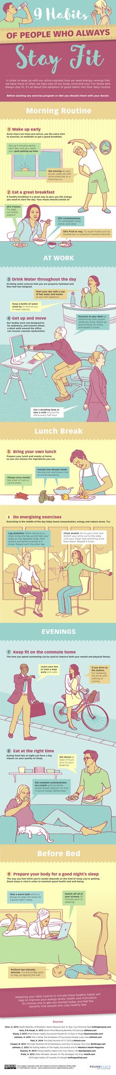 Get the top 9 habits of people who always stay fit in this fun infographic! Fitness tips health tips to help you live healthier.