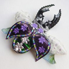 Stag beetle faux taxidermy fascinator corsage brooch by Skullbag