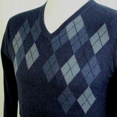 Calvin Klein Mens XL Heathered Blue Argyle V Neck Soft PIMA Cotton Golf Sweater #CalvinKlein #VNeck