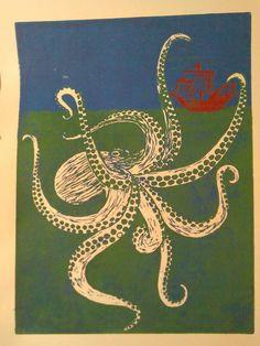 Original artwork by Kyrie Davenport, jewellartistry. Ink Print, Octopus