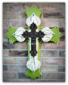 Large Wall CROSS - Sage Green Crackled Beige and brown - Beautiful!!!